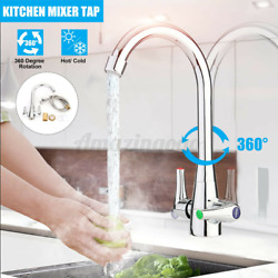 Modern Style Basin Faucet 360anddeg Double Handle Hot Cold Mixer Tap Kitchen Sink