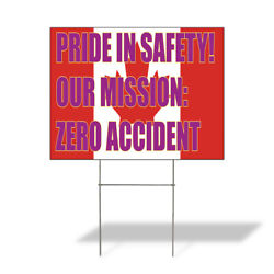 Weatherproof Yard Sign Our Mission Zero Accident Lawn Garden Construction