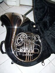New Double French Horn Silver With Hard Case And Mouthpiece