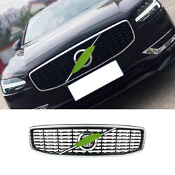 For Volvo S90 2017-2021 Black Silver Front Center Mesh Grille Grill Cover Trim