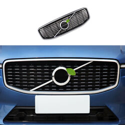 Fit For Volvo Xc60 2018-2021 Silver Black Front Center Mesh Grille Cover Trim