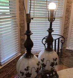 Rare Vintage Ef And Ef Industries 32 White Glass Table Lamp No. 338 Read