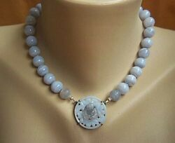 One Of A Kind Chinese Chaceldony Rock Crystal Buddha Crazy Lace Agate Necklace
