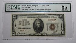 20 1929 Hood River Oregon Or National Currency Bank Note Bill Ch 7272 Vf35 Pmg