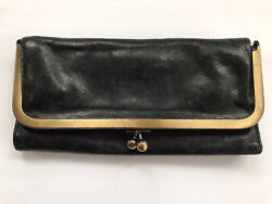 HOBO International RACHEL Leather Trifold Wallet Kisslock Black $49.99