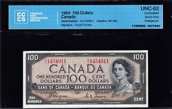 1954 Bank Of Canada 100 Devils Face In Cccs Choice Unc 62 Bc-35a