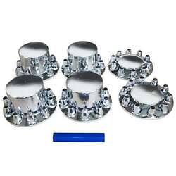 New Front Rear Chrome Semi Truck Hub Cover Kit 33mm Round Wheel Axle Covers
