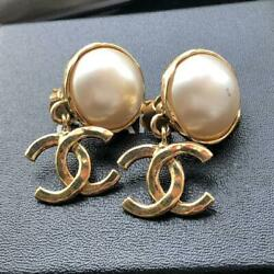 Vintage Earrings Pearl Coco Mark Rare Authentic