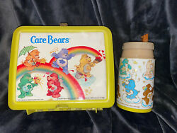 Vintage 1980's Aladdin Care Bears Plastic Lunch Box W/thermo No Lid Yellow
