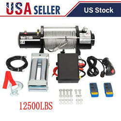 12500lbs 12v Electric Recovery Winch Truck Wire Rope Suv Remote Control Us