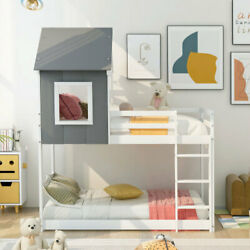 Wood House Bed With Roof,twin Over Twin Low Bunk Beds Or Loft Bed,gray And White