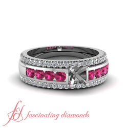 Diamond Engagement Ring Settings With Round Pink Sapphire In Platinum