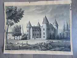 Chagny Castle Of Savigny-les-beaune Genuine Drawing Sign 1883 Cote Gold