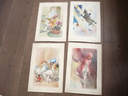 Clauss 4 Watercolors Original For Illustrate The Jewelry Prying 1947