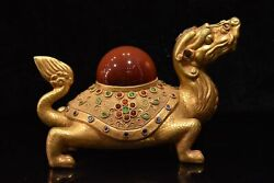Chinese Rare Tang Dynasty Collection Old Copper Gilded Feng Shui Dragon Turtle