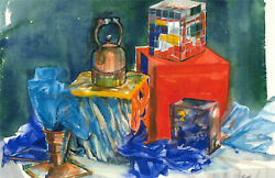 Pamela Guille Arca - Contemporary Watercolour Staged Still Life