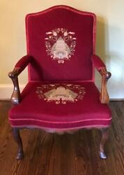 French Antique Needlepoint Carved Wood Chair Arm Chair Furniture