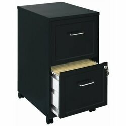 Mobile Home Office File Cabinet Two Drawer Compact Storage Filing Cabinets Black