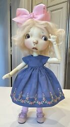 Blue Boneka Smocked Embroidered Dress For 10 Connie Lowe Sprocket Doll