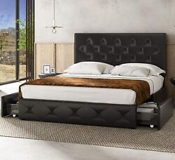 Queen Bedframe Headboard Underbed Storage Drawers Tufted Faux Leather Wood Slats
