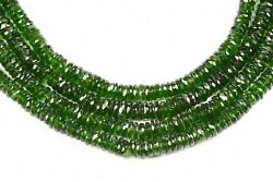 Natural Green Chrome Diopside Faceted Tyre Beads, 17 Inch Length, 5 To 6 Mm App