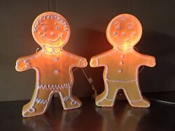 Blow Mold Gingerbread Figure Girl Boy White Icing Union Don Pair 2