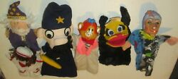 Mixed Lot Of 6 Vintage Hand Puppet Toys 2 W Rubber Head, Witch Monkey Bull Cop +