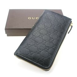 AUTHENTIC NWT Unused Gucci Black Leather GG Guccissima Zip Wallet 332747 $379.00