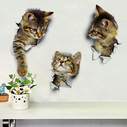25*16.5 cm 3D Kitties Wall Sticker Waterproof Removable For Shower Room Home