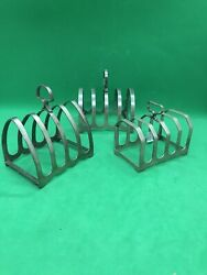 Antique Or Vintage Three Solid Silver Toast Rack Birminghamx2 And One Sheffield