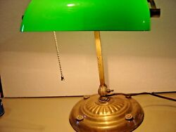 Antique Weighted Desk Piano Lamp With Green Cased Glass Shade. 207