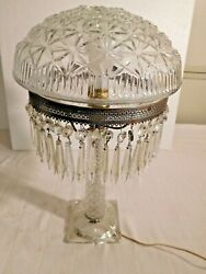 Antique Pressed Glass Parlor Lamp With Pressed Glass Shade With Prisms   1965