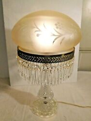 Antique Pressed Glass Parlor Lamp W/ Satin Shade Cut To Clear W/ Prisms  1961