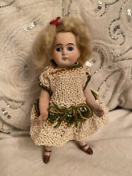 """Antique All Bisque Large 6"""" Doll French Market Blue Glass Eyes Knit Dress"""