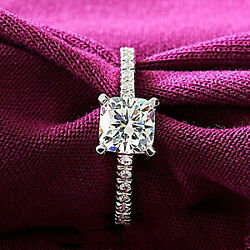 Real Solid 14k White Gold 1ct Cushion Cut Diamond Engagement Half Eternity Ring