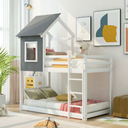 Twin Over Twin Low Bunk Bed, Loft Bed House Bed With Roof House-shaped Frame