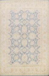 Muted Gray Blue Vegetable Dye Peshawar-chobi Floral Area Rug Hand-knotted 9and039x13and039