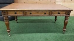Gorgeous Antique Oak English 2 Sided Desk Table With Drawers, 19th C