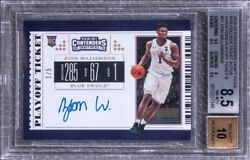 19-20 Panini Contenders 51 Zion Williamson Signed Rookie Card 1/5 Bgs 8.5