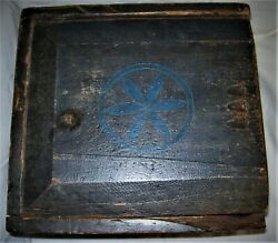 Antique Early Bluewooden Candle Box With Sliding Lid