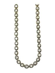 Natural Rose Cut Polki Diamond 925 Sterling Silver Pave Necklace Christmas Sale