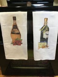 2 Flour Sack Towels With Wine Iron On Designs 27 X 30 Dishtowels Curtains New