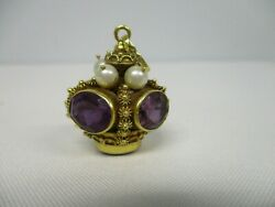 Vintage Made In Italy 18k Gold Amethyst Pearl Etruscan Crown Charm Pendant