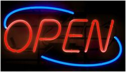 Vintage Neon Open Hand Blown Glass Sign With Wall Mount Hang Fixture 24 Length