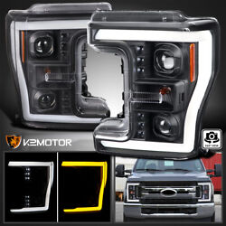 For 2017-2019 F250 F350 F450 Black Projector Headlights+switchback Led Signal