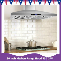30 Inch Kitchen Range Hood 350 Cfm Touch Wall Mounted Cook Vent Stainless Steel