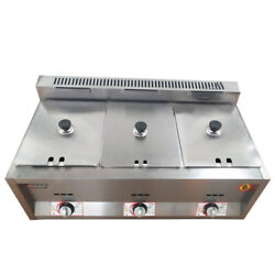 3 Pan Commercial Gas Feyer Deep Fryer Countertop Gas Fry 3 Pot Stainless Steel