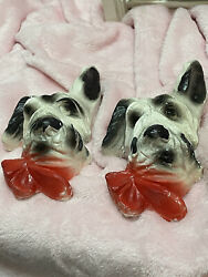 2 Old Vintage Chalkware Black and white Dog Wall Hanger Plaques Cute Adorable