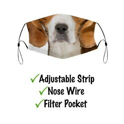 Funny Beagle Dog Mouth Face Mask W Filter Pocket amp; Nose Wire L XL