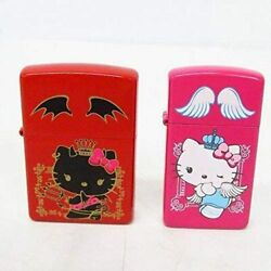 Zippo Lighter Hello Kitty Angel And Devil Pair Set Japan Limited New With Tracking